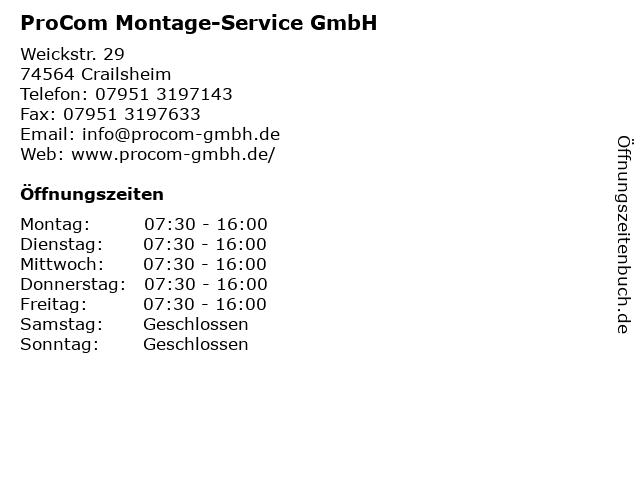 ProCom Montage-Service GmbH in Crailsheim: Adresse und Öffnungszeiten