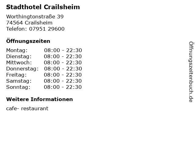 Stadthotel Crailsheim in Crailsheim: Adresse und Öffnungszeiten