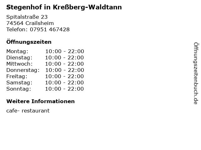 Stegenhof in Kreßberg-Waldtann in Crailsheim: Adresse und Öffnungszeiten