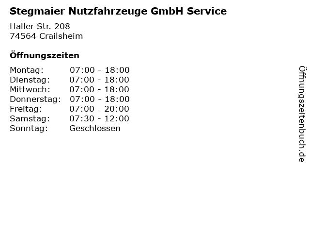 Stegmaier Nutzfahrzeuge GmbH Service in Crailsheim: Adresse und Öffnungszeiten