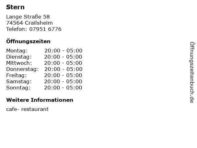 Stern in Crailsheim: Adresse und Öffnungszeiten