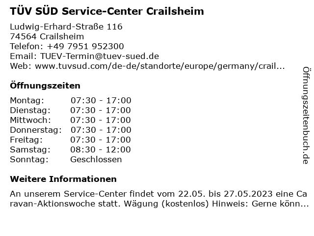 Tüv Crailsheim öffnungszeiten