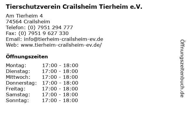 Tierschutzverein Crailsheim Tierheim e.V. in Crailsheim: Adresse und Öffnungszeiten