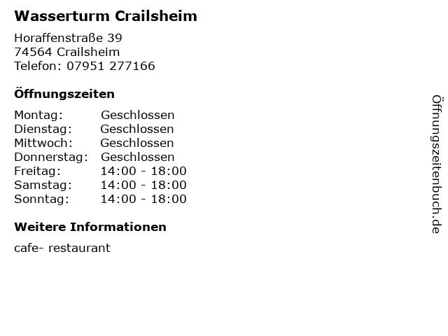 Wasserturm Crailsheim in Crailsheim: Adresse und Öffnungszeiten