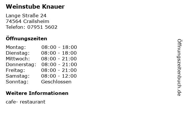 Weinstube Knauer in Crailsheim: Adresse und Öffnungszeiten