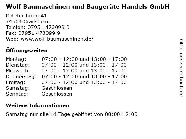 Wolf Baumaschinen und Baugeräte Handels GmbH in Crailsheim: Adresse und Öffnungszeiten