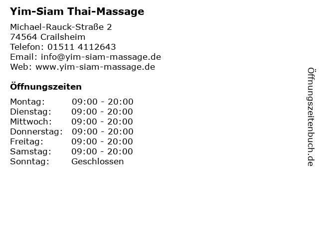 Yim-Siam Thai-Massage in Crailsheim: Adresse und Öffnungszeiten