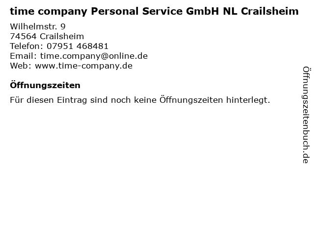time company Personal Service GmbH NL Crailsheim in Crailsheim: Adresse und Öffnungszeiten