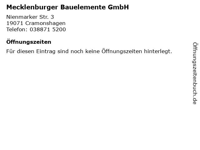 Mecklenburger Bauelemente GmbH in Cramonshagen: Adresse und Öffnungszeiten