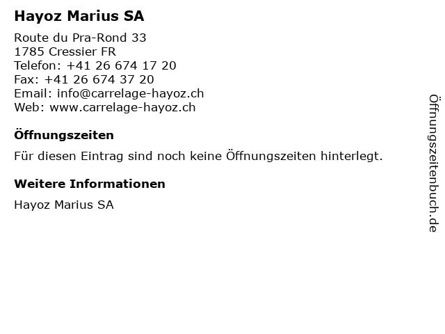 Hayoz Marius SA in Cressier FR: Adresse und Öffnungszeiten