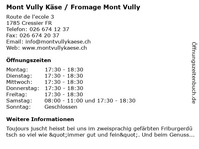 Mont Vully Käse / Fromage Mont Vully in Cressier FR: Adresse und Öffnungszeiten