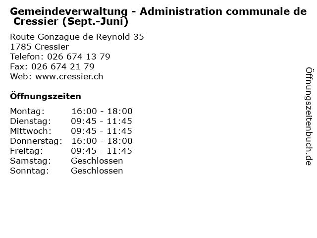 Gemeindeverwaltung - Administration communale de Cressier (Sept.-Juni) in Cressier: Adresse und Öffnungszeiten