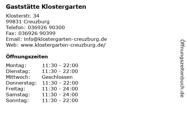 """Gaststätte """"Klostergarten"""" Inh. Markus Krone in Creuzburg: Adresse und Öffnungszeiten"""