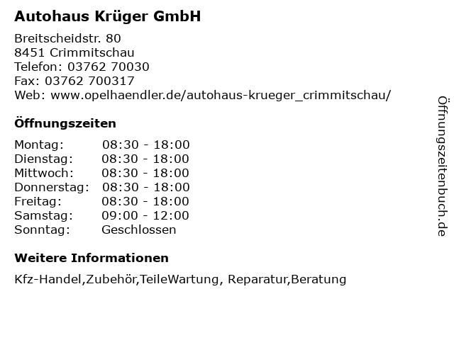 Autohaus Krüger GmbH in Crimmitschau: Adresse und Öffnungszeiten