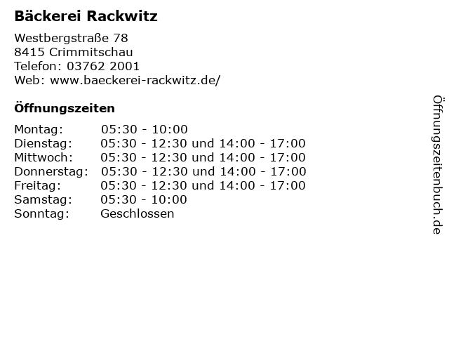 Bäckerei Rackwitz in Crimmitschau: Adresse und Öffnungszeiten