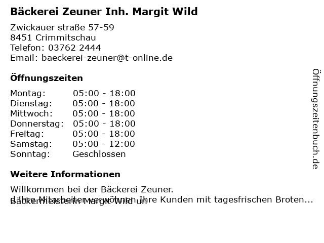 Bäckerei Zeuner Inh. Margit Wild in Crimmitschau: Adresse und Öffnungszeiten