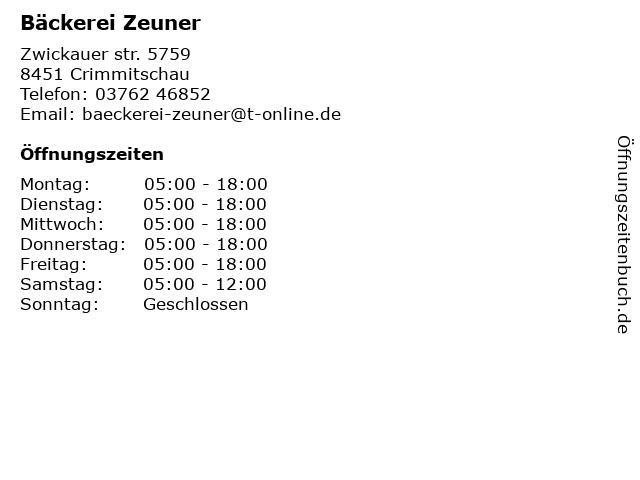 Bäckerei Zeuner in Crimmitschau: Adresse und Öffnungszeiten