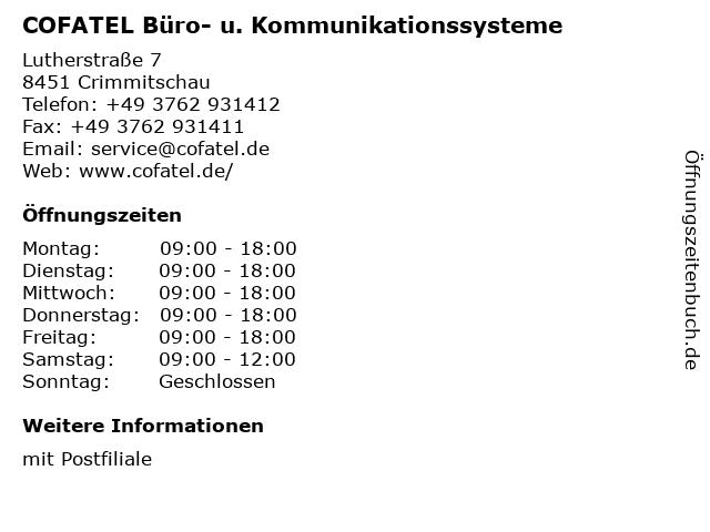 COFATEL Büro- u. Kommunikationssysteme in Crimmitschau: Adresse und Öffnungszeiten