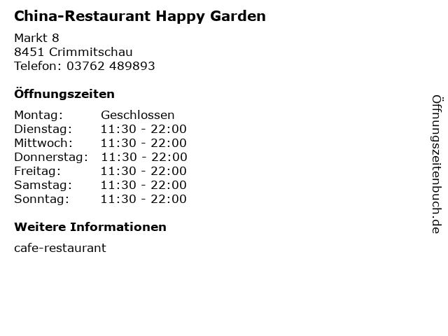 China-Restaurant Happy Garden in Crimmitschau: Adresse und Öffnungszeiten