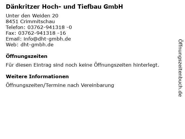 Dänkritzer Hoch- und Tiefbau GmbH in Crimmitschau: Adresse und Öffnungszeiten