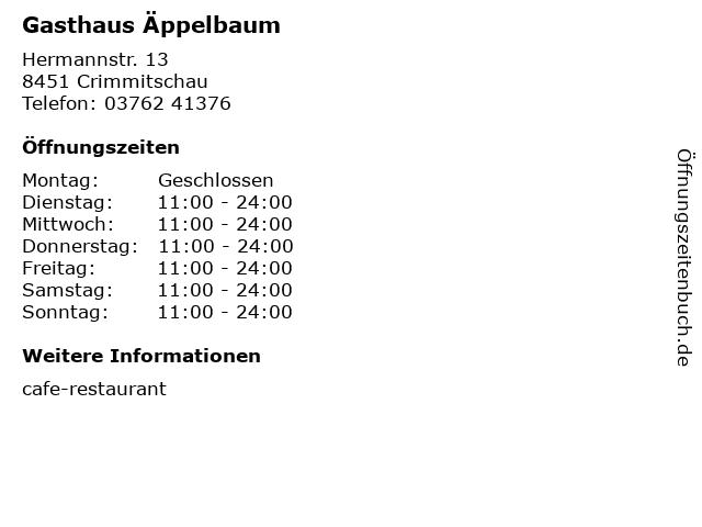 Gasthaus Äppelbaum in Crimmitschau: Adresse und Öffnungszeiten