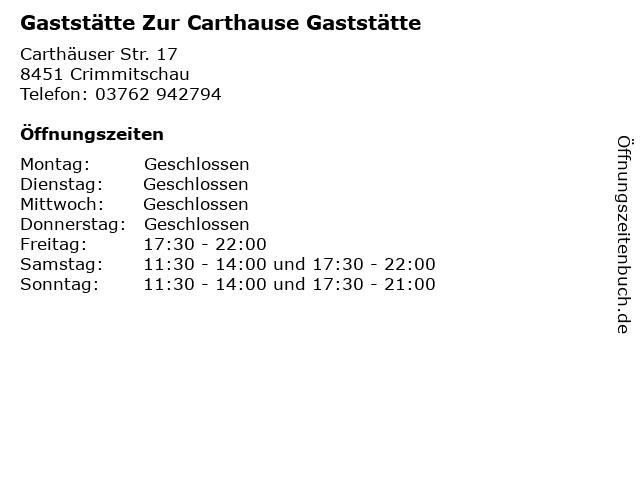 Gaststätte Zur Carthause Gaststätte in Crimmitschau: Adresse und Öffnungszeiten
