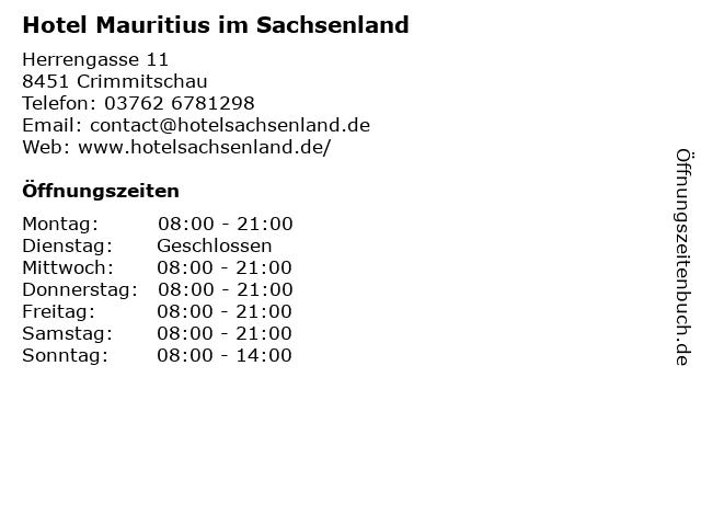 Hotel Mauritius im Sachsenland in Crimmitschau: Adresse und Öffnungszeiten