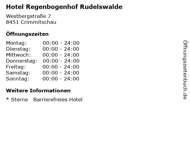 Hotel Regenbogenhof Rudelswalde in Crimmitschau: Adresse und Öffnungszeiten