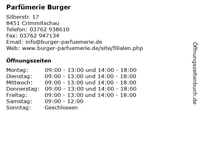 Parfümerie Burger in Crimmitschau: Adresse und Öffnungszeiten