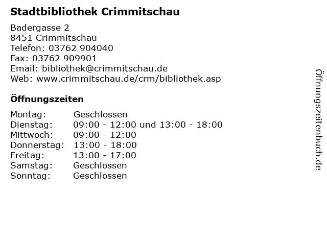 Stadtbibliothek Crimmitschau in Crimmitschau: Adresse und Öffnungszeiten