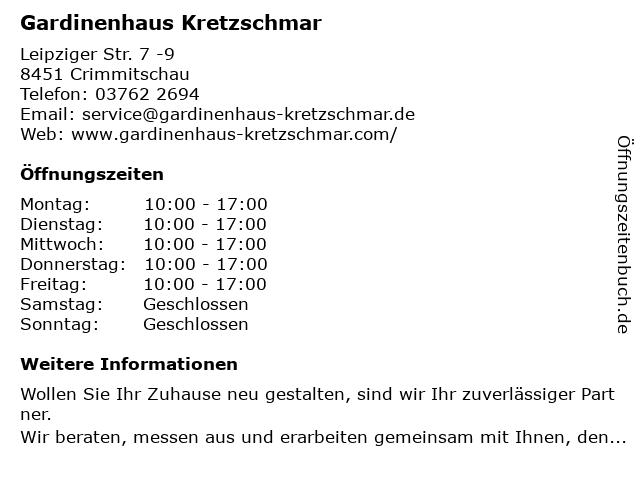 Thomas Kretzschmar Gardinenhaus Kretzschmar in Crimmitschau: Adresse und Öffnungszeiten