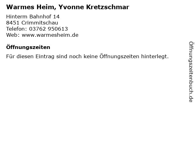 Warmes Heim, Yvonne Kretzschmar in Crimmitschau: Adresse und Öffnungszeiten
