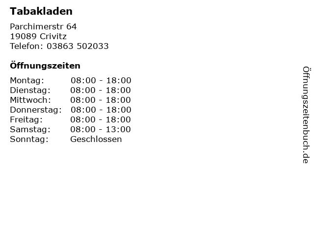 Tabakladen in Crivitz: Adresse und Öffnungszeiten