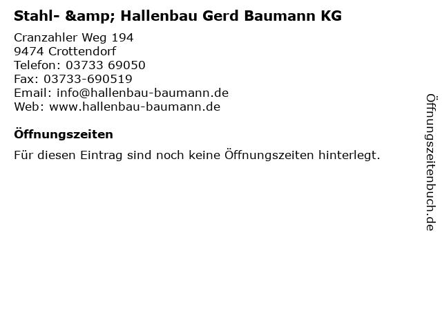 Stahl- & Hallenbau Gerd Baumann KG in Crottendorf: Adresse und Öffnungszeiten