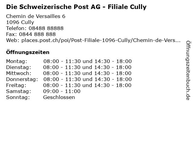 Die Schweizerische Post AG - Filiale Cully in Cully: Adresse und Öffnungszeiten