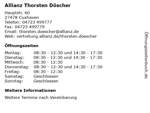 Allianz Thorsten Döscher in Cuxhaven: Adresse und Öffnungszeiten