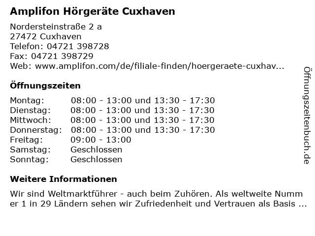 Amplifon Deutschland GmbH in Cuxhaven: Adresse und Öffnungszeiten