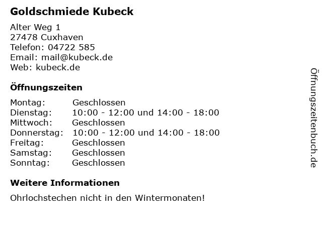 Goldschmiede Kubeck in Cuxhaven: Adresse und Öffnungszeiten
