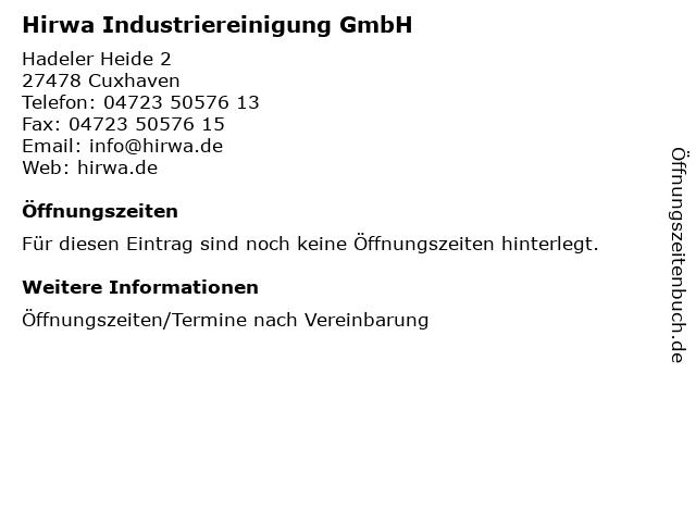 Hirwa Industriereinigung GmbH in Cuxhaven: Adresse und Öffnungszeiten