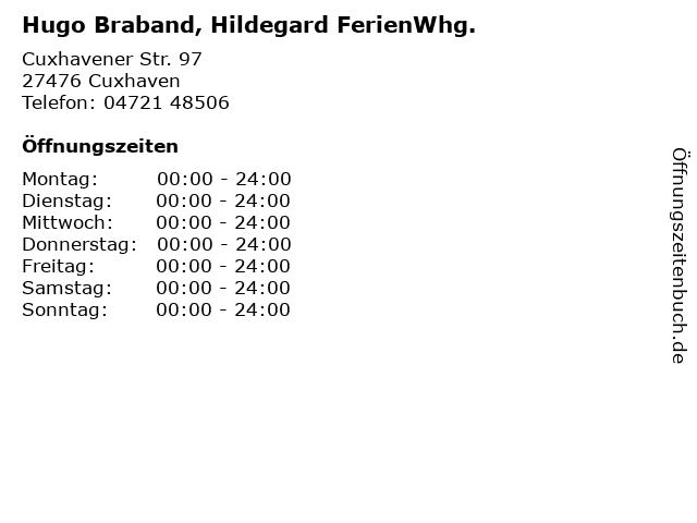 Hugo Braband, Hildegard FerienWhg. in Cuxhaven: Adresse und Öffnungszeiten