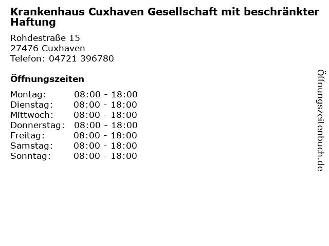 Krankenhaus Cuxhaven Gesellschaft mit beschränkter Haftung in Cuxhaven: Adresse und Öffnungszeiten