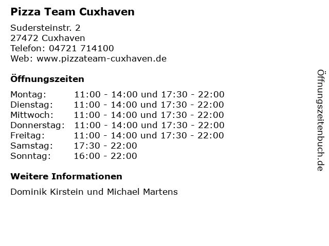 Pizza Team Cuxhaven in Cuxhaven: Adresse und Öffnungszeiten