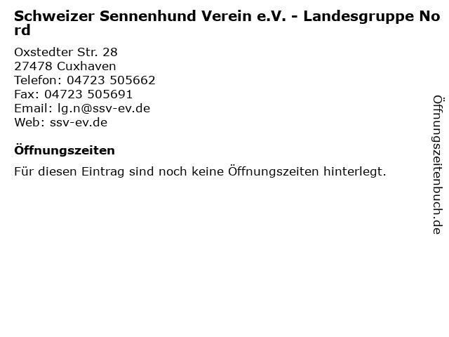 Schweizer Sennenhund Verein e.V. - Landesgruppe Nord in Cuxhaven: Adresse und Öffnungszeiten