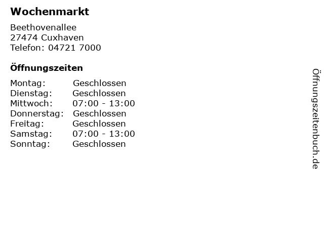 Wochenmarkt in Cuxhaven: Adresse und Öffnungszeiten
