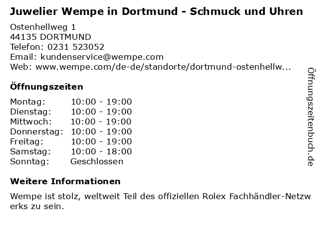 Juwelier Wempe in Dortmund: Adresse und Öffnungszeiten