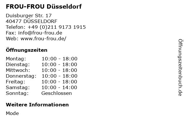 FROU-FROU Düsseldorf in DÜSSELDORF: Adresse und Öffnungszeiten