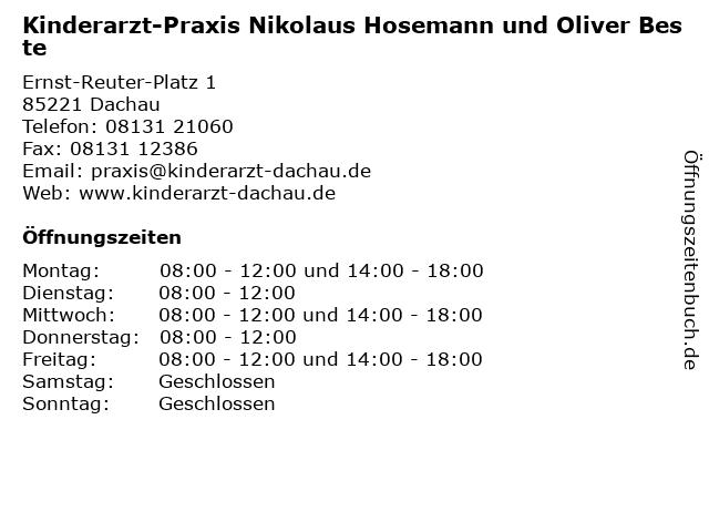 Kinderarzt-Praxis Nikolaus Hosemann und Oliver Beste in Dachau: Adresse und Öffnungszeiten