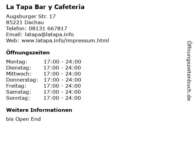 La Tapa Bar y Cafeteria in Dachau: Adresse und Öffnungszeiten