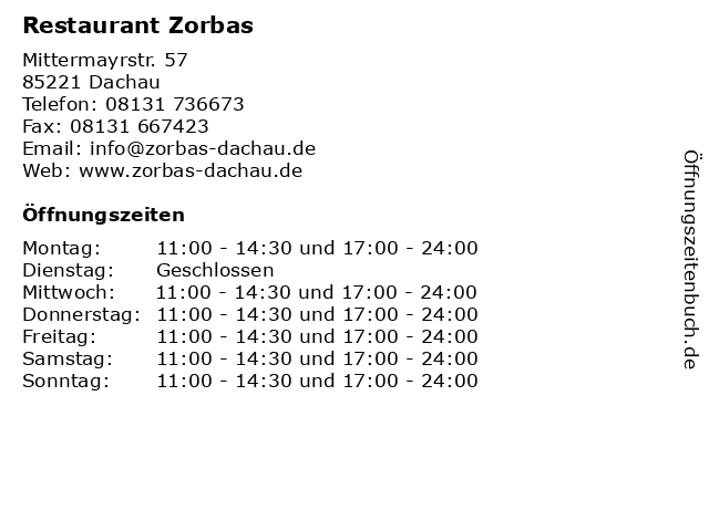 Restaurant Zorbas in Dachau: Adresse und Öffnungszeiten