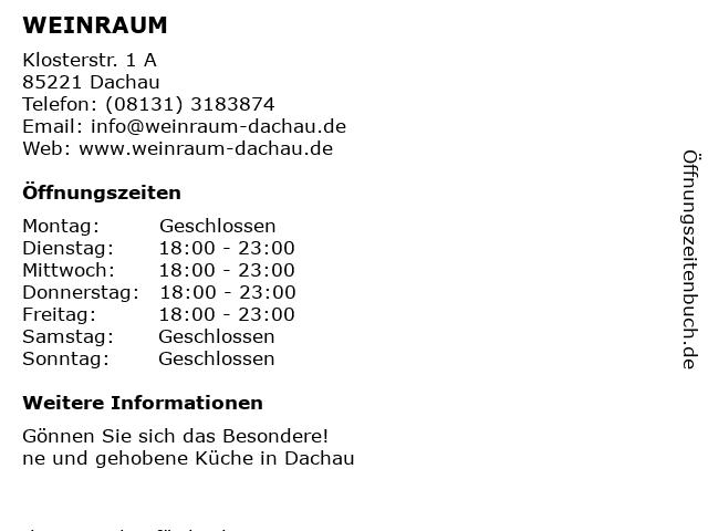 WEINRAUM in Dachau: Adresse und Öffnungszeiten
